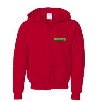 Kids Red Hoodie Zip Front