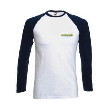 Longsleeve Baseball T-shirt White Navy Baseball T Front
