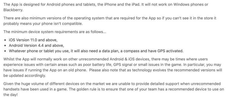 Phone Spec Requirements